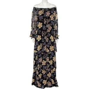 Tory Burch Black Floral Print Silk Off-Shoulder Hopewell Indie Maxi Dress L