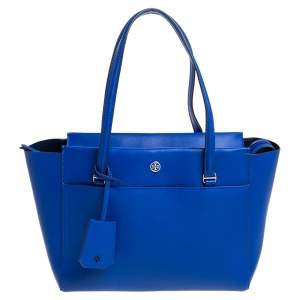 Tory Burch Blue Leather Parker Tote