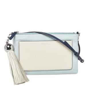 حقيبة كروس تورى برش تفاصيل سحاب جلد لامع بيضاء / زرقاء فاتحة