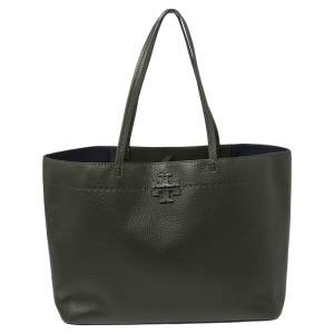 Tory Burch Boxwood Green Grained Leather McGraw Tote