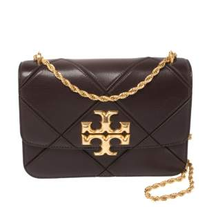 Tory Burch Burgundy Diamond Quilted Leather Eleanor Shoulder Bag