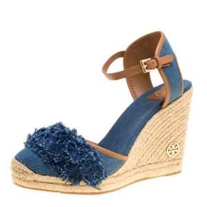 Tory Burch Blue Denim Shaw Espadrille Wedge Sandals Size 41