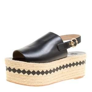 Tory Burch Black Leather Dandy Peep Toe Platform Espadrille Sandals  Size 40