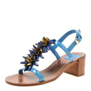 Tory Burch Blue Patent Leather Emilynn Beaded T-Strap Sandals Size 35