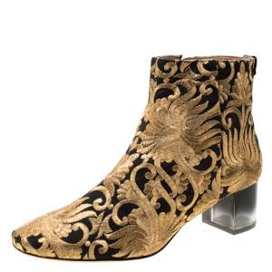 Tory Burch Metallic Gold Brocade Fabric Ankle Boots Size 39.5