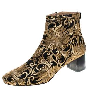 Tory Burch Black/Gold Embroidered Carlotta Booties Size 40