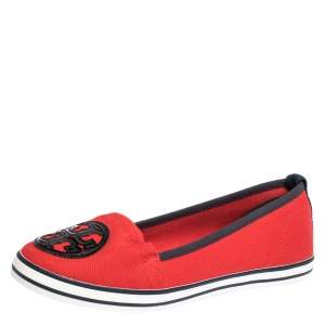 Tory Burch Red Canvas Logo Slip On Loafers Size 38