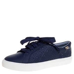 Tory Burch Blue Quilted Leather Marion Low Top Sneakers Size 39