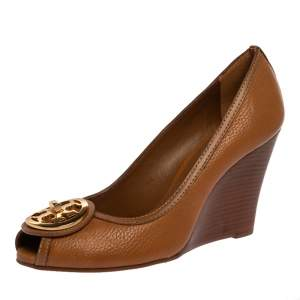 Tory Burch Brown Leather Selma Wedge Logo Peep Toe Pumps Size 39.5