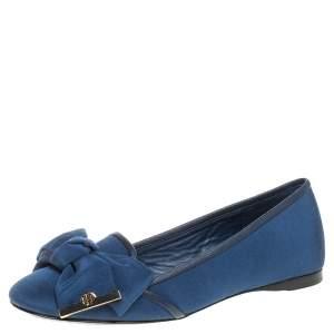 Tory Burch Blue Canvas Penny Smoking Flats Size 35.5