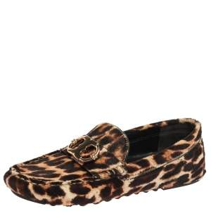 Tory Burch Brown/Black Leopard Print Pony Hair Loafers Size 36