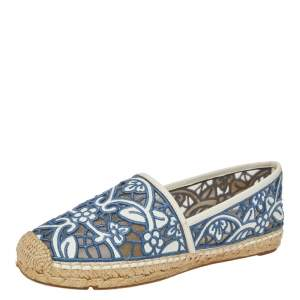Tory Burch Blue/White Embroidered Leather Cutout Espadrille Flats Size 40.5