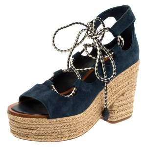 Tory Burch Navy Blue Suede Positano Tie Up Espadrille Wedge Sandals Size 37