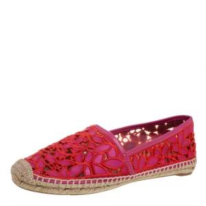 Tory Burch Pink Cotton Lace and Leather Jackie Espadrilles Size 39