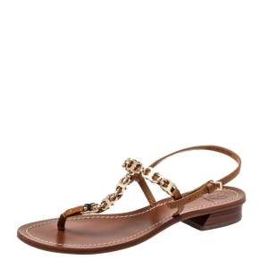 Tory Burch Brown Leather Gemini Link Detail Flat Sandals Size 37.5