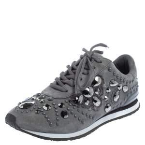 حذاء رياضي توري برش سويدي رصاصي سكارليت مزخرف كريستال مقاس 37.5
