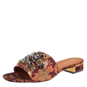 Tory Burch Brown Fabric Crystal Embellished Martine Slide Sandals Size 38.5