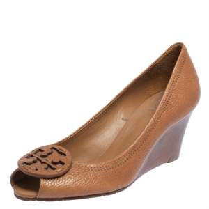 Tory Burch Tan Leather Melanie Wedge Pumps Size 40