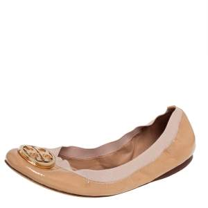 Tory Burch Beige Patent Leather And Fabric Caroline Ballet Flats Size 41