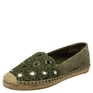 Tory Burch Green Suede Embellished Espadrille Flats Size 35