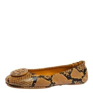 Tory Burch Black/Yellow Python Embossed Leather Reva Flats Size 39.5