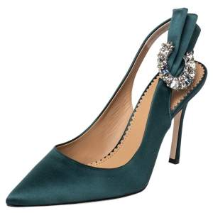Tory Burch Green Satin Crystal Embellished Slingback Pumps Size 36.5