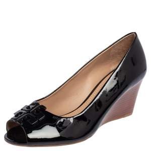 Tory Burch Black Patent Leather Lowell Peep Toe Wedge Pumps Size 36