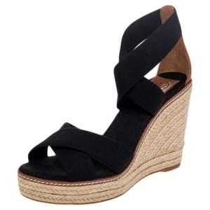 Tory Burch Black Canvas Frieda Espadrille Wedge Sandals Size 38