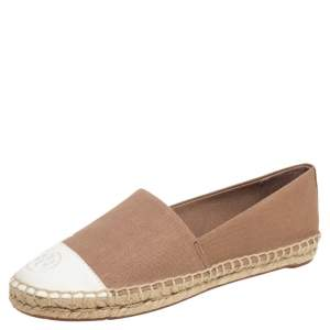 حذاء فلات إسبادريل توري برش كانفاس بيج-أبيض مقاس 38