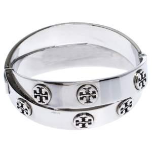 Tory Burch Silver Tone Metal Logo Double Wrap Bracelet