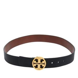 Tory Burch Navy Blue Leather Logo Buckle Belt 105CM