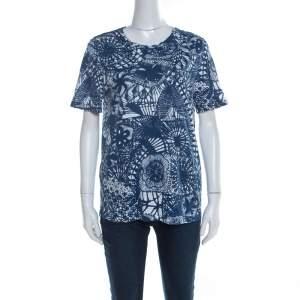 Tory Burch Baltic Sea Blue Dreamcatcher Print Pima Cotton T-Shirt M