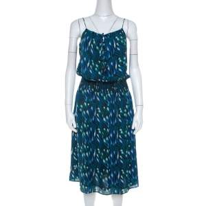 Tory Burch Blue Peacock Print Silk Tassel Detail Camisole Dress M
