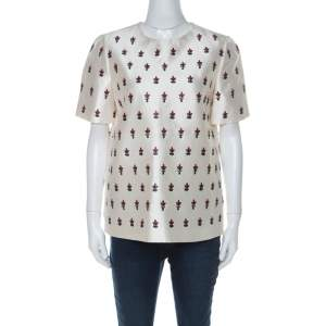 Tory Burch Off White Wool & Silk Blend Embellished Top M