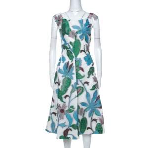 Tory Burch White Floral Fil Coupé Short Wisteria Dress S