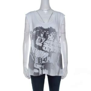 Tory Burch White Contrast Print Cotton French Sleeve T-Shirt XL