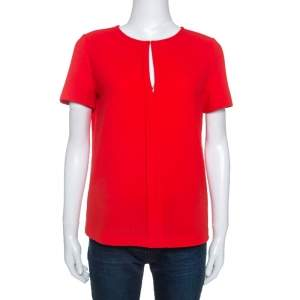 Tory Burch Red Textured Crepe Keyhole Detail Top S