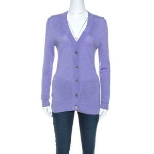 Tory Burch Lavender Purple Merino Wool Buttoned Cardigan S