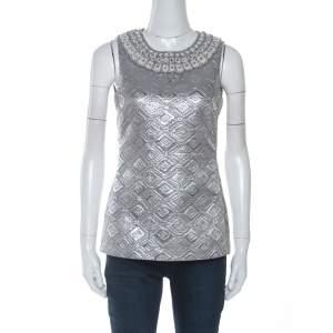 Tory Burch Silver Geometric Jacquard  Embellished Sleeveless Top S