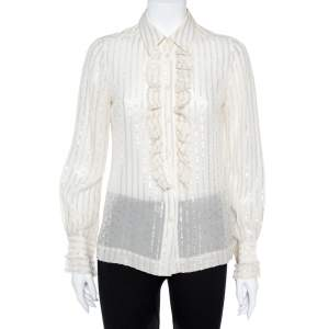 Tory Burch Cream Lurex Striped Silk Ruffled Shirt M