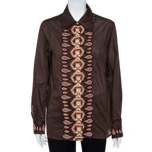Tory Burch Brown Cotton Embroidered Button Front Shirt L