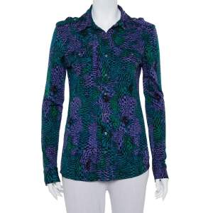 Tory Burch Multicolor Printed Silk Knit Button Front Shirt S