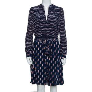 Tory Burch Navy Blue Contrast Printed Silk Belted Judi Dress L