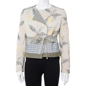 Tory Burch Multicolor Floral Embroidered Tie Detail Jacket M