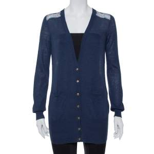 Tory Burch Navy Blue Knit & Peacock Feather Printed Silk Button Front Cardigan XS