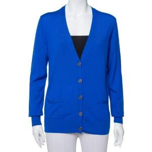 Tory Burch Royal Blue Wool Button Front Madeline Cardigan L