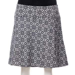 Tory Burch Navy Blue & White Textured Cotton Geometric Embroidered Burlap Mini Skirt M