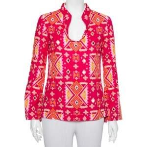 Tory Burch Pink Batik Printed Cotton Embellished Oversized Top S