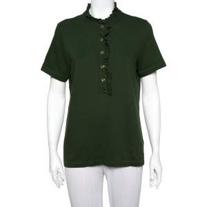 Tory Burch Olive Green Cotton Pique Ruffled Lidia T-Shirt XL