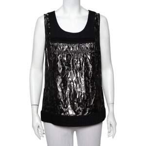 Tory Burch Metallic Black Lamé & Wool Trim Tank Top L